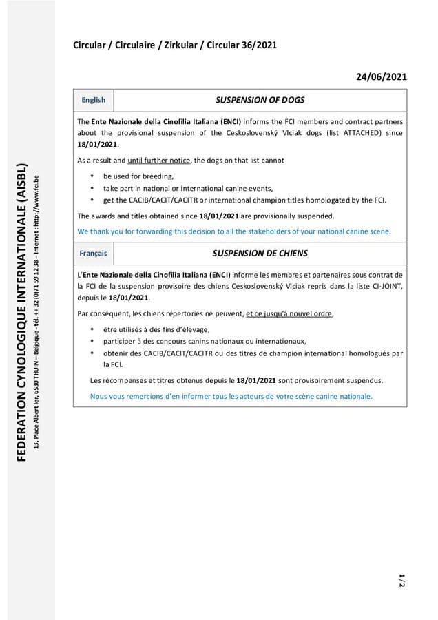 circulaire 36-2021 FCI page 1